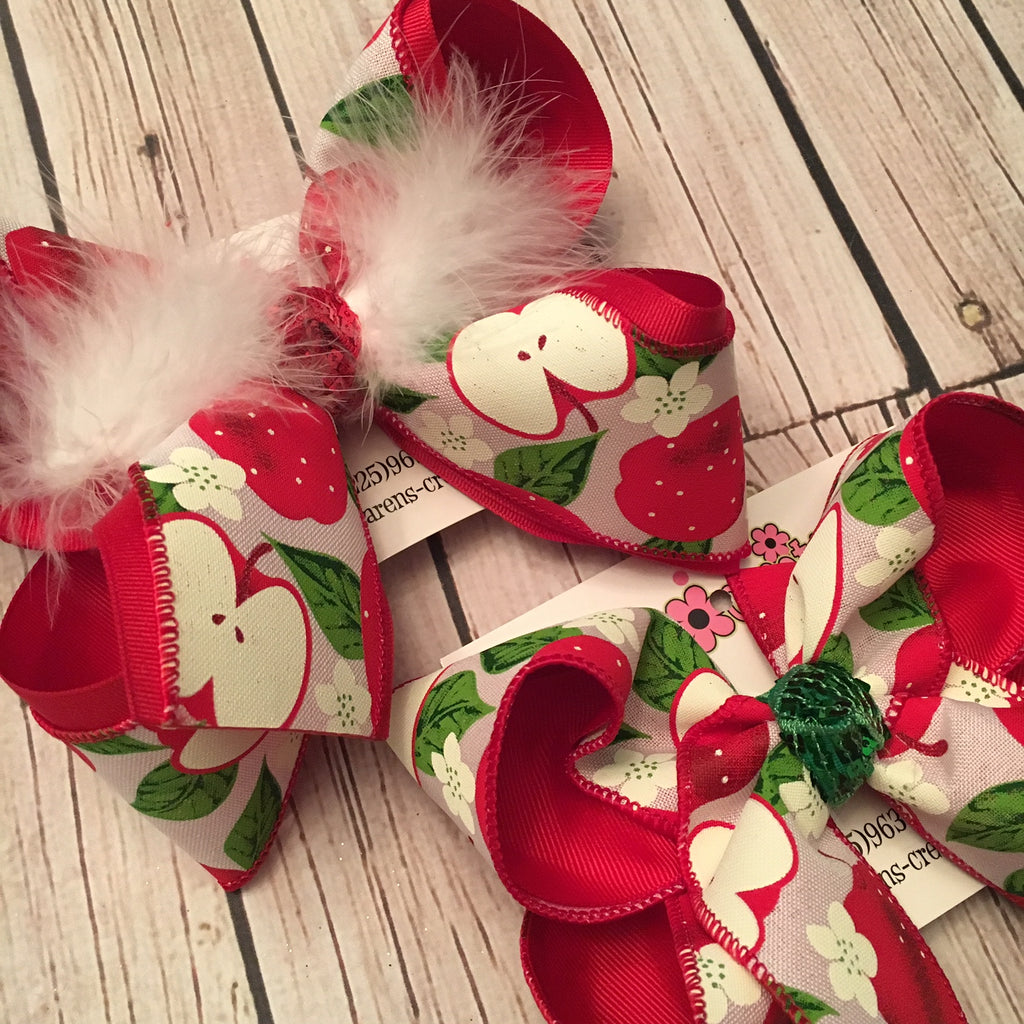 Red Apples Print Jumbo or Large Layered Hair Bow