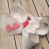 Script Name Jumbo or Large Monogrammed Hair Bow