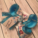 Frozen Anna Elsa Print Jumbo Large or Medium Layered Hair Bow