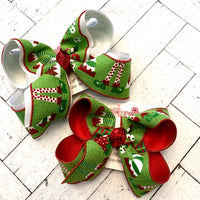 Christmas Green Canvas Glitter Elf Feet Jumbo or Large Layered Hair Bow