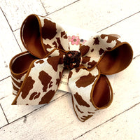 Canvas Chocolate Brown Cow Print Jumbo or Large Layered Hair Bow