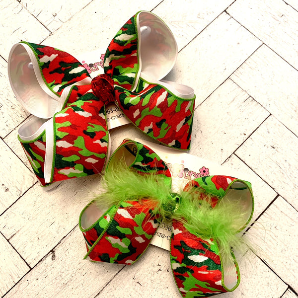 Christmas Camo Print Jumbo or Large Layered Hair Bow