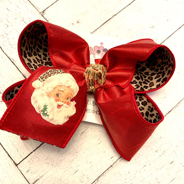 Santa w/Leopard Print Hat Large Layered Hair Bow
