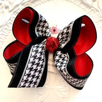 Black Velvet Houndstooth Print Jumbo or Large Layered Hair Bows