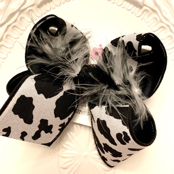 Canvas Cow Print Jumbo or Large Layered Hair Bow