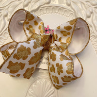 White Glitter Leopard Print Jumbo or Large Layered Hair Bow