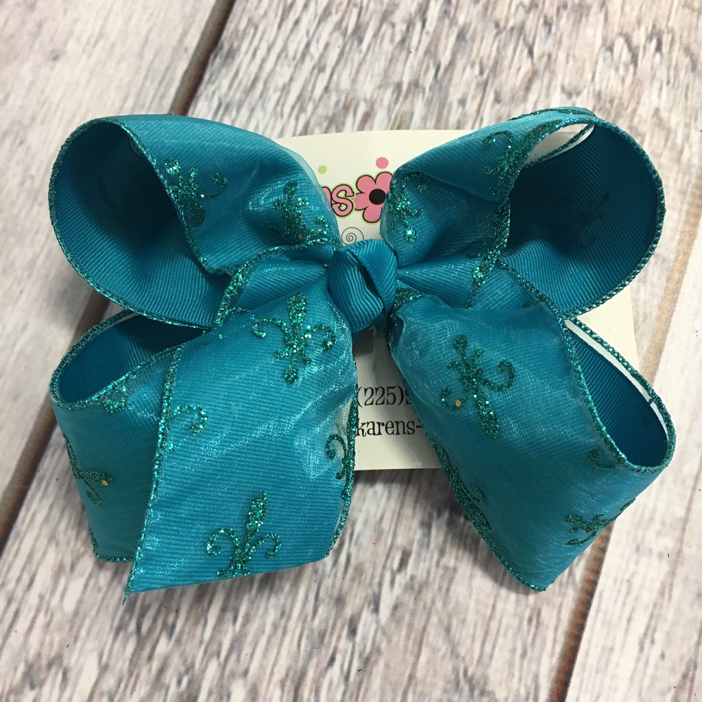 Large Turquoise Glitter Fleur De Lis Layered Hair Bow