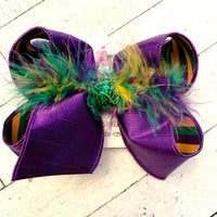 Mardi Gras Stripes Large Medium or Small Layered Hair Bow