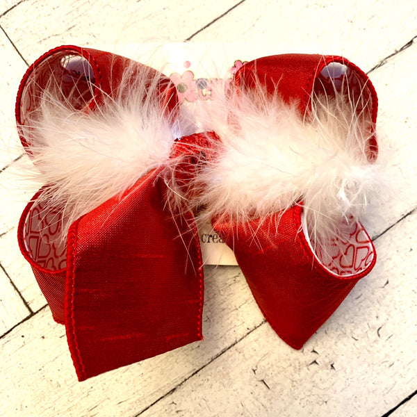 Valentine's Sweetheart Print Large Medium or Small Layered Hair Bow