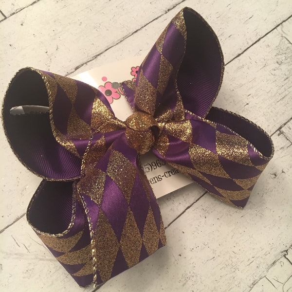 LSU Themed Purple w/Gold Glitter Diamonds Jumbo or Large Layered Hair Bow