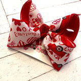 Valentine's Day Glitter Cars Jumbo or Large Layered Hair Bow