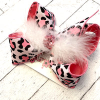 Pink Leopard Print Jumbo or Large Layered Hair Bow