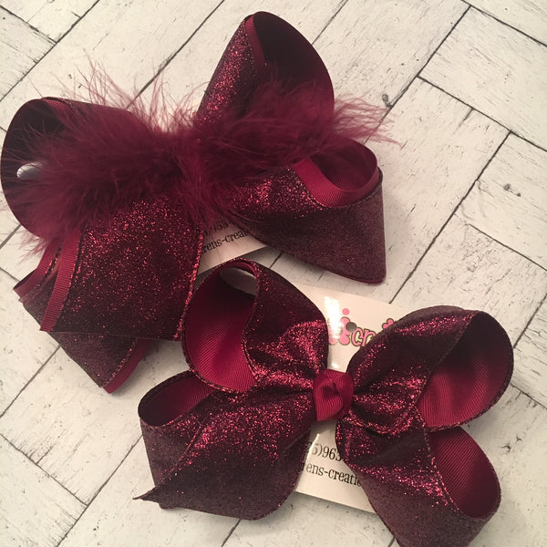 Maroon Burgundy Glitter Ribbon Jumbo or Large Layered Hair Bow