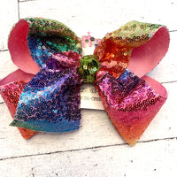 Bright Rainbow Sequin Jumbo or Large Hair Bow