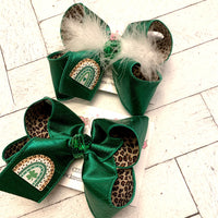 St. Patrick's Day Rainbow Leopard Jumbo Large Medium or Small Layered Hair Bow