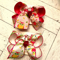 Spring Owl Print Large Layered Hair Bow