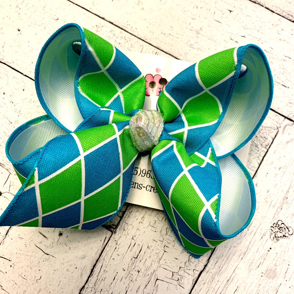Lime/Turquoise Harlequin Large Layered Hair Bow