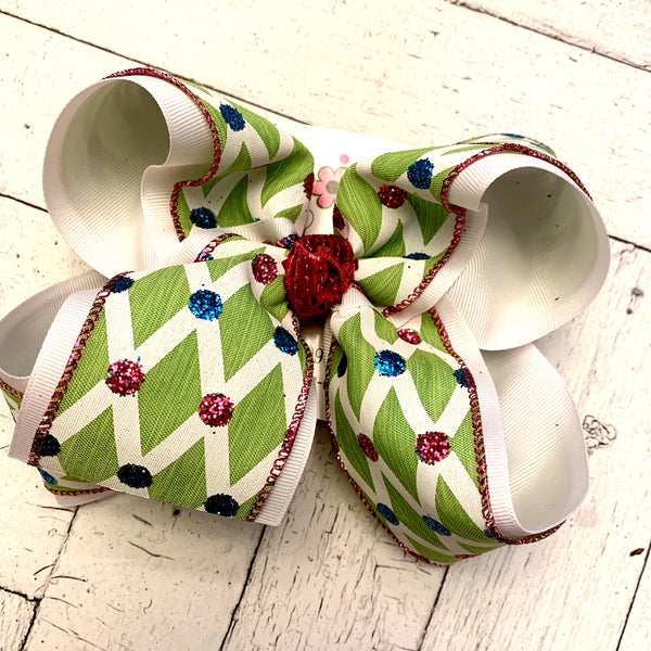 Apple Harlequin Glitter Dots Jumbo Layered Hair Bow