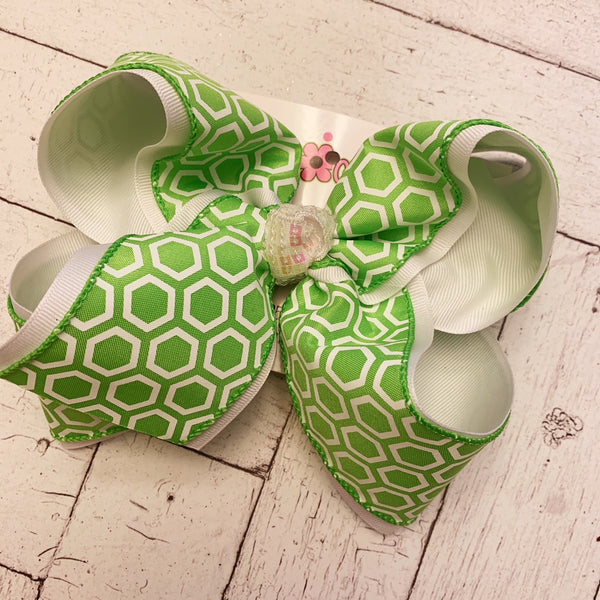 Lime Honeycomb Print Jumbo Layered Hair Bow