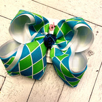 Lime/Turquoise Harlequin Jumbo Layered Hair Bow