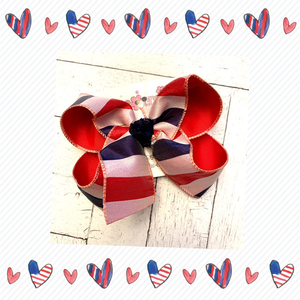 Patriotic Red White Blue Dupioni Silk Stripes Jumbo or Large Layered Hair Bow