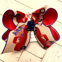 Patriotic American Flag Truck Large Layered Hair Bow