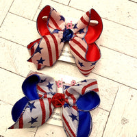 Patriotic Glitter Stars and Stripes Large Layered Hair Bow