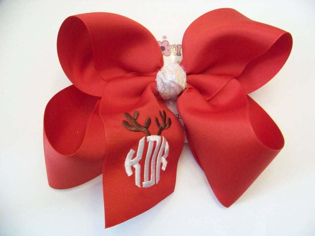 Reindeer Antlers Triple Monogram Christmas/Holiday Bow