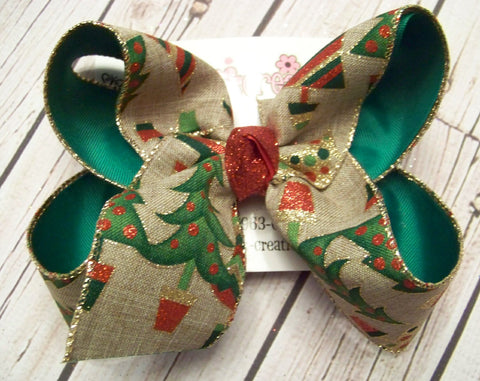 Canvas Glitter Christmas Trees Jumbo or Large Layered Hair Bow