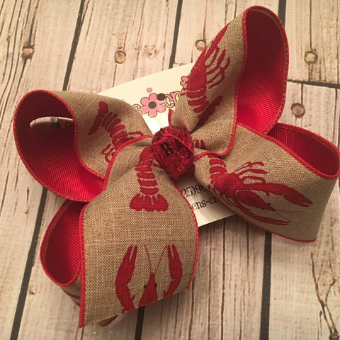 Canvas Large Crawfish Print Jumbo or Large Layered Hair Bow