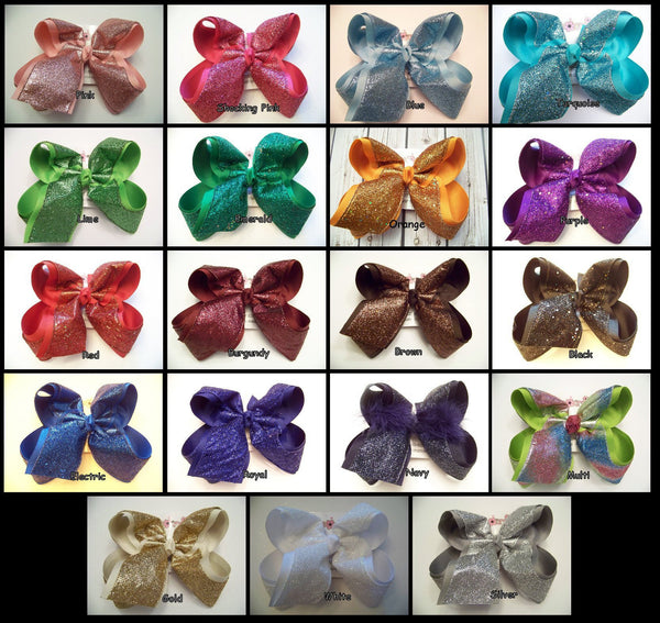Jumbo Glitter Sparkle Ribbon Layered Hair Bows