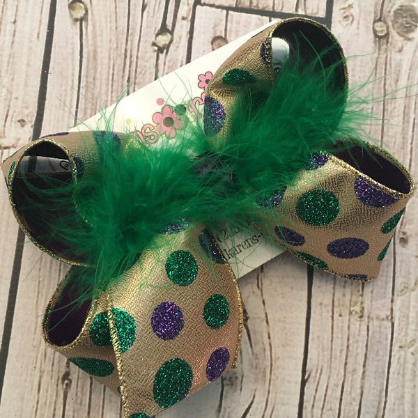 Mardi Gras Glitter Dots Jumbo Large or Medium Layered Hair Bow