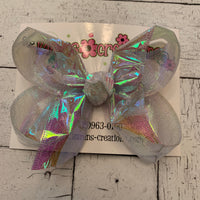 Clear Iridescent Cellophane Ribbon Large or Medium Single Layer Hair Bow