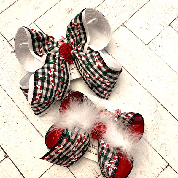 Christmas Black Gingham w/Candy Canes Holiday Jumbo or Large Layered Hair Bow