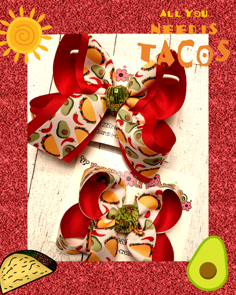 Fiesta Taco Print Jumbo Large Medium or Small Layered Hair Bow