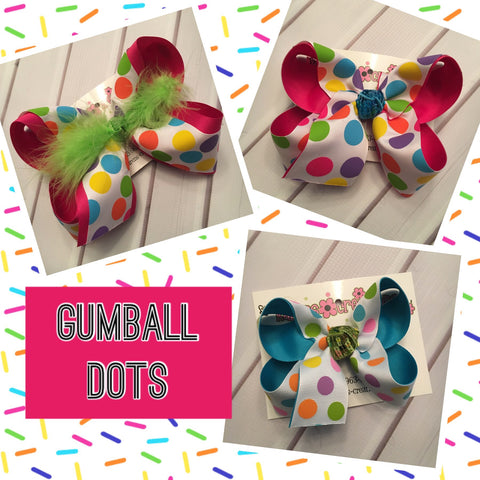 Gumball Dots Jumbo Large Medium or Small Layered Hair Bow
