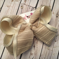 Ivory Rustic Stripes Jumbo or Large Layered Hair Bow