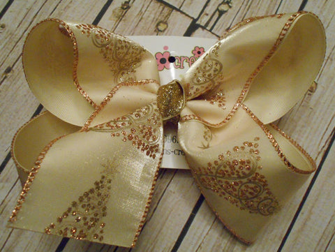 Ivory Glitter Christmas Trees Jumbo Christmas/Holiday Layered Hair Bow