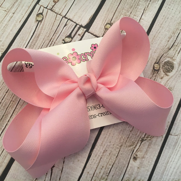 Large Solid Boutique Single Layer Hair Bow
