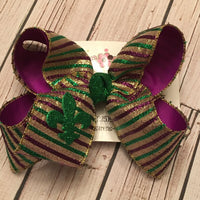 Mardi Gras Purple/Green/Gold Metallic Stripes Jumbo or Large Layered Hair Bow
