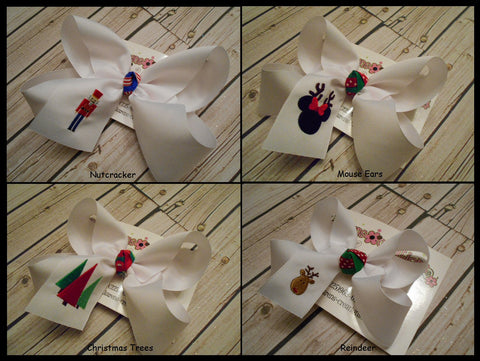 Jumbo/Large/Medium Christmas/Holiday Themed Monogrammed Bows