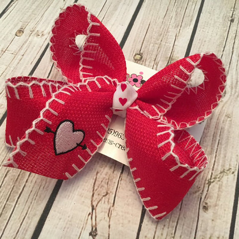 Valentine's Day Monogrammed Heart Stitched Ribbon Large Hair Bow