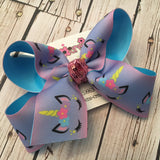 Ombre Summer Unicorn Jumbo or Large Layered Hair Bow