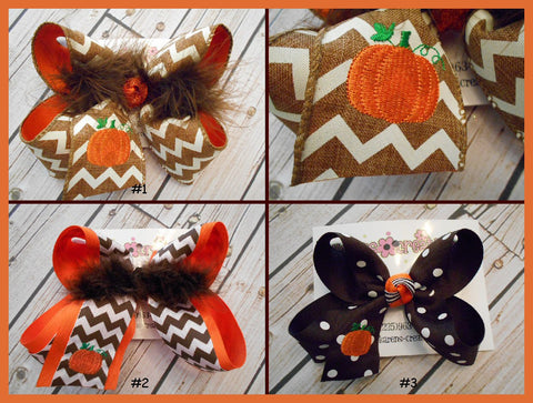 Monogrammed Holiday Pumpkin Jumbo Large or Medium Hair Bow