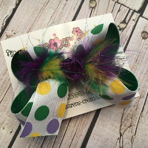 Mardi Gras Random Dots Medium Layered Hair Bow