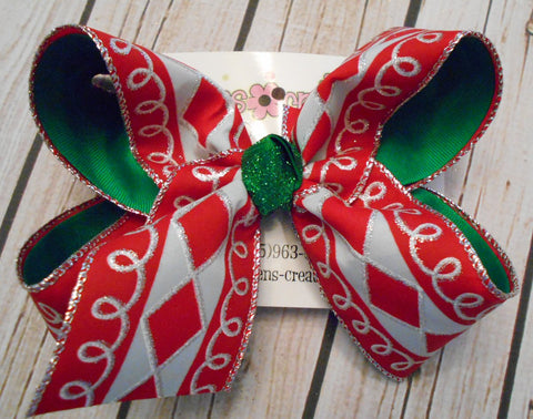 Holiday Red Glitter Diamond Loop Large or Jumbo Christmas/Holiday Layered Hair Bow