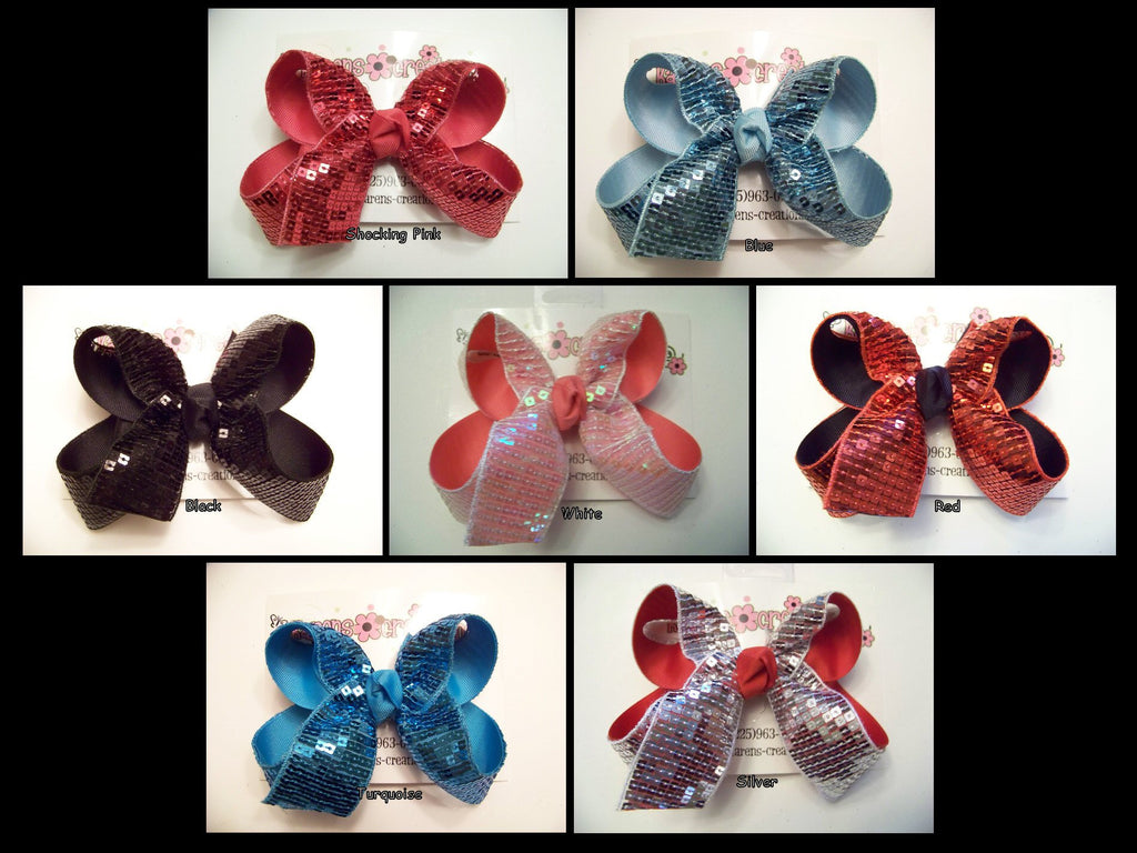 Medium Sequin Ribbon Layered Bow