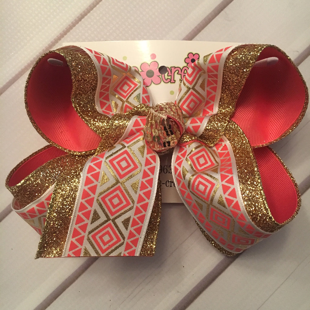 Coral Aztec Print Gold Glitter Jumbo or Large Triple Layer Hair Bow
