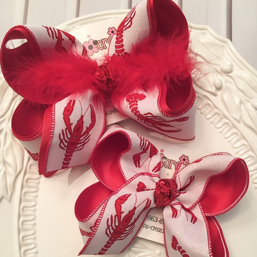 White Canvas Large Crawfish Print Jumbo or Large Layered Hair Bow