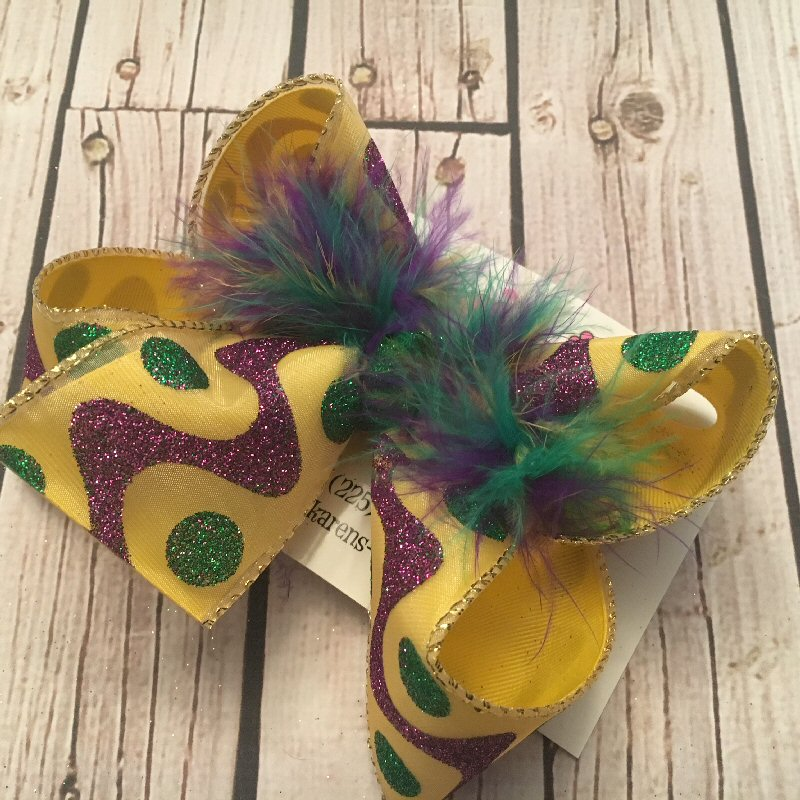 Mardi Gras Yellow w/Glitter Dots/Waves Jumbo or Large Layered Hair Bow